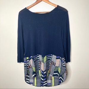 Westbound Layered Stretchy Geometric Top NWT
